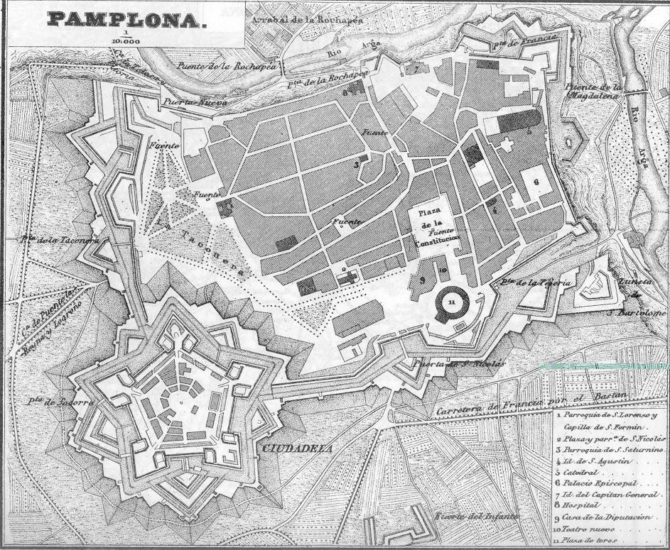 Plano de Pamplona 1845