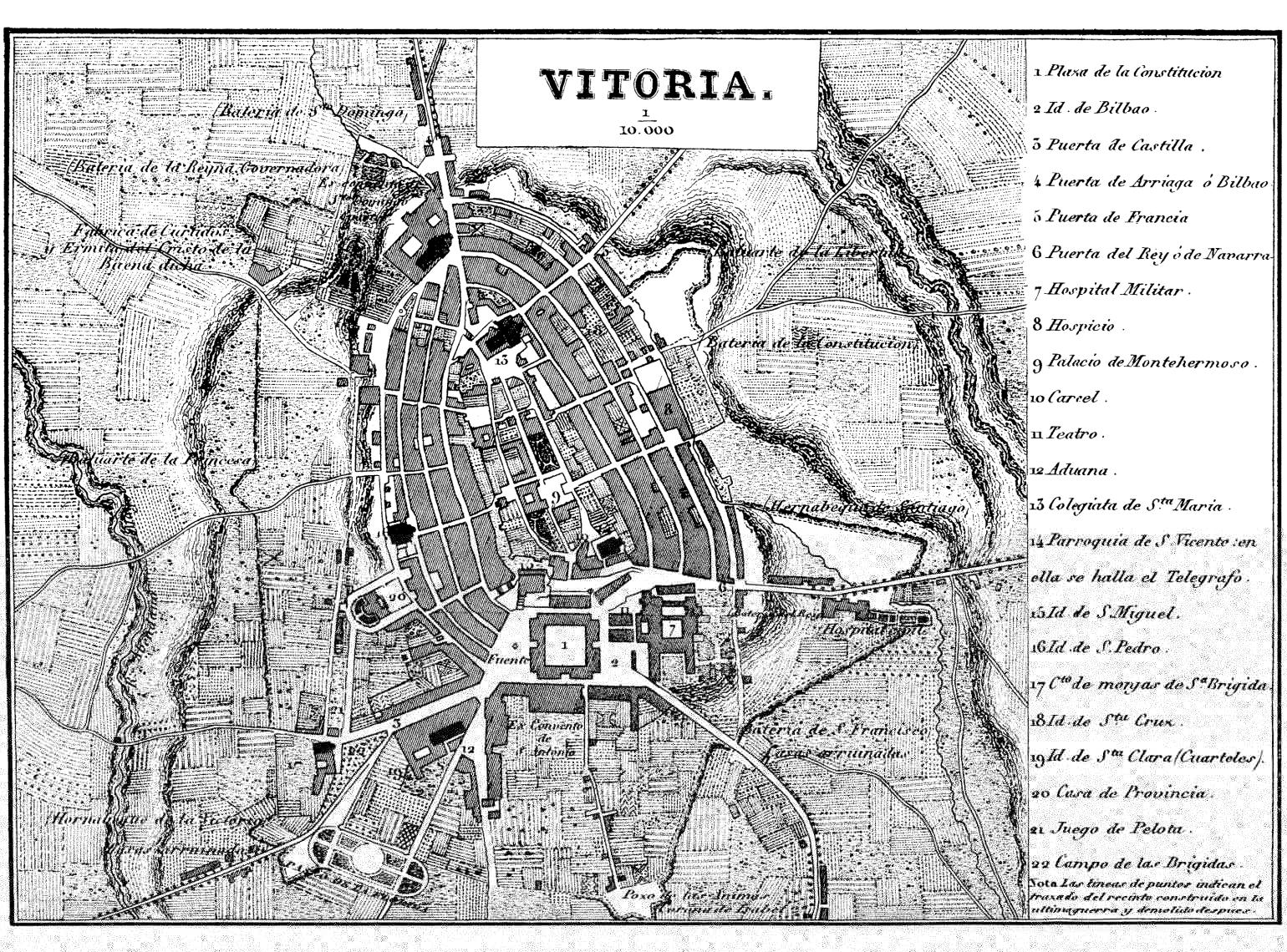 Vitoria-Gasteiz map in 1836
