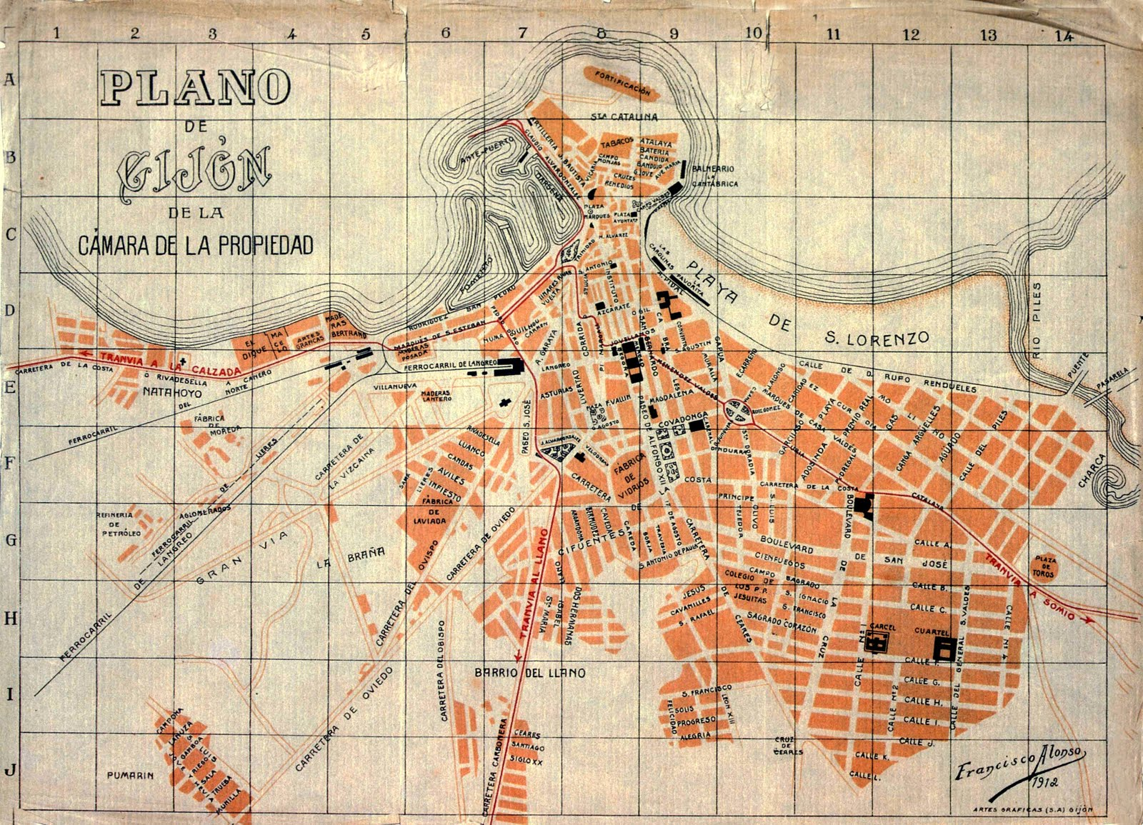 Gijón map 1912