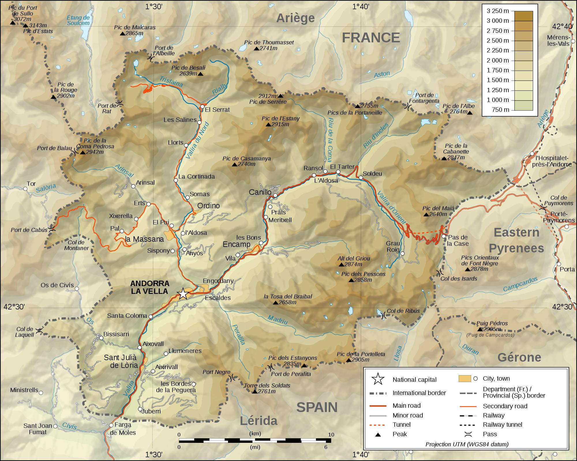 Mapa físico de Andorra 2009