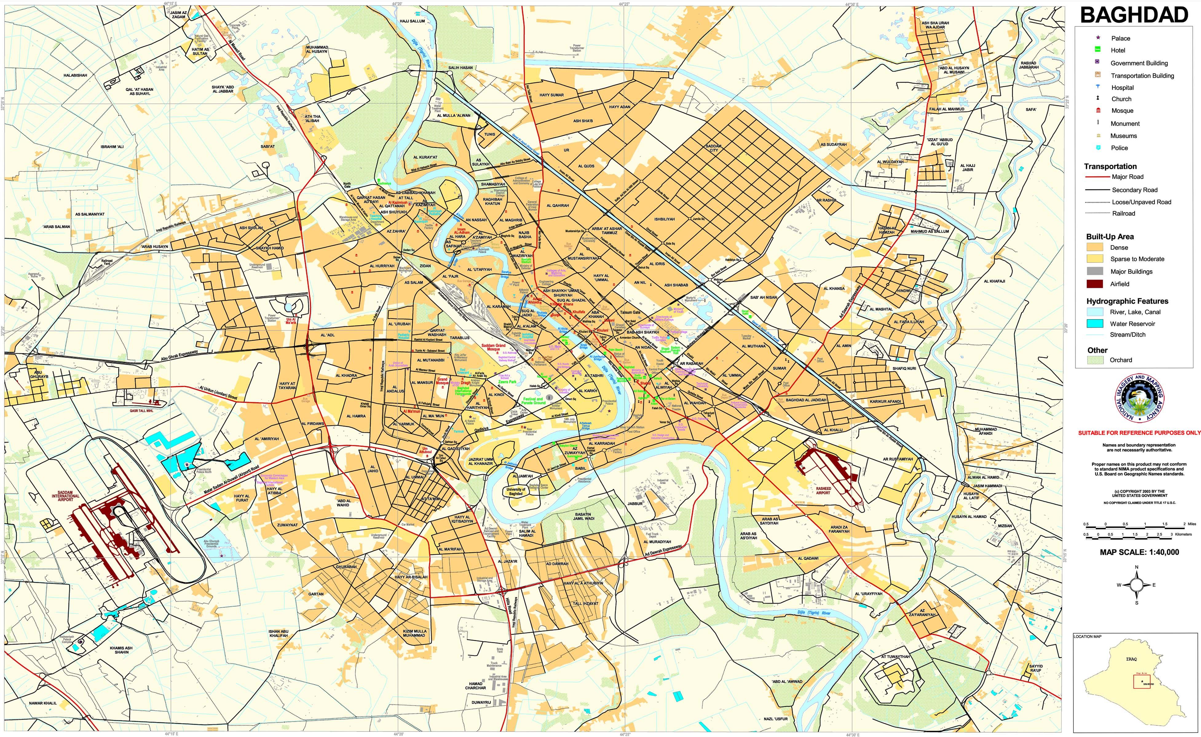 Mapa de Bagdad 2003