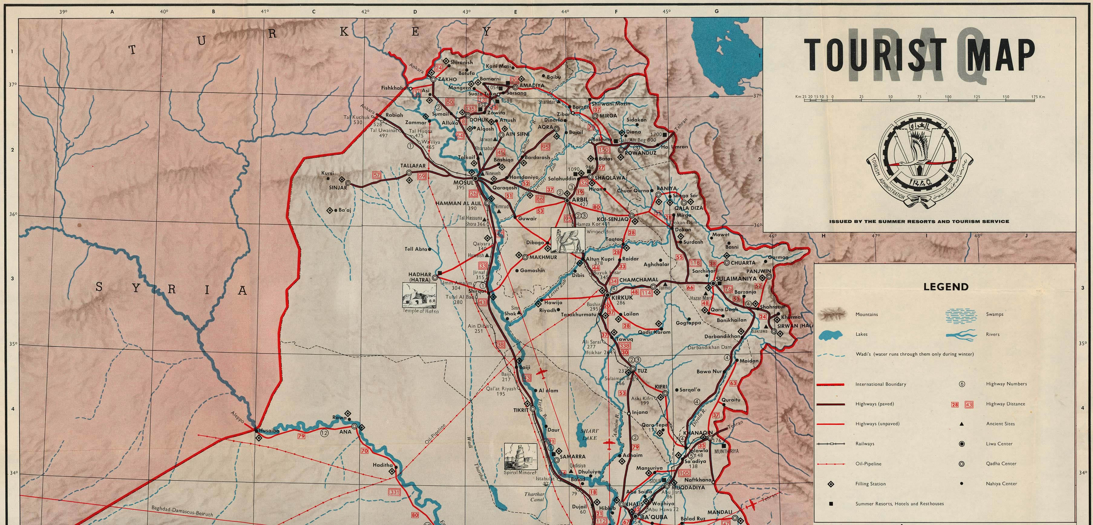 Northern Iraq Tourist Map 1970