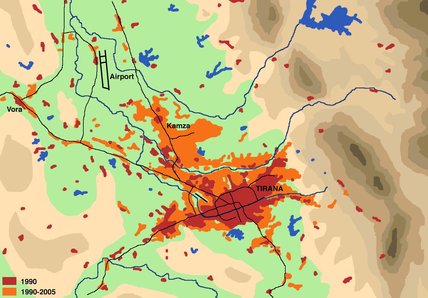 Expansión de Tirana de 1990 a 2005