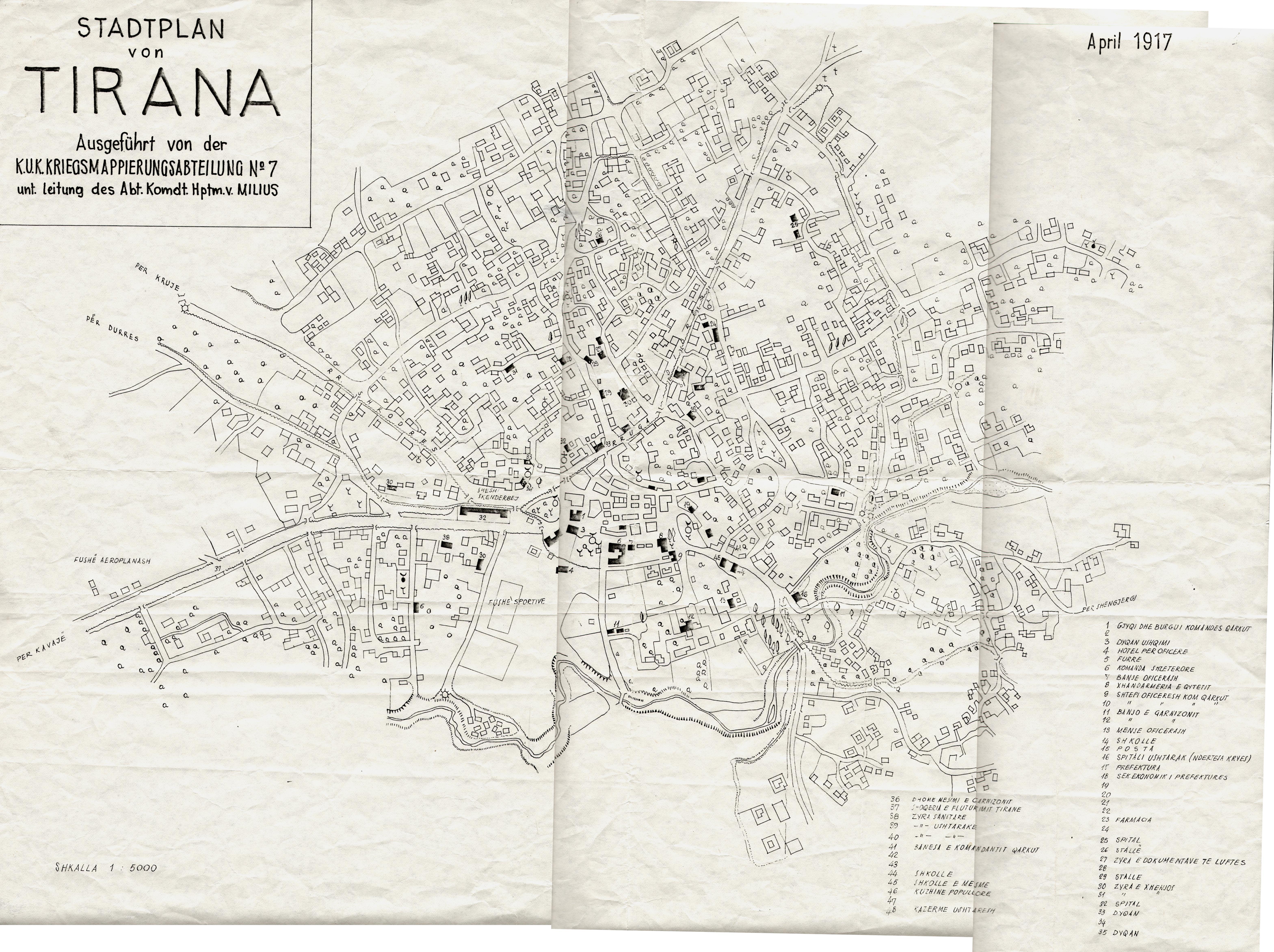 Tirana map 1917