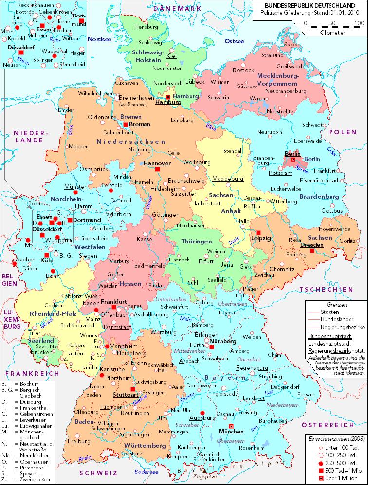 Mapa político de Alemania 2010