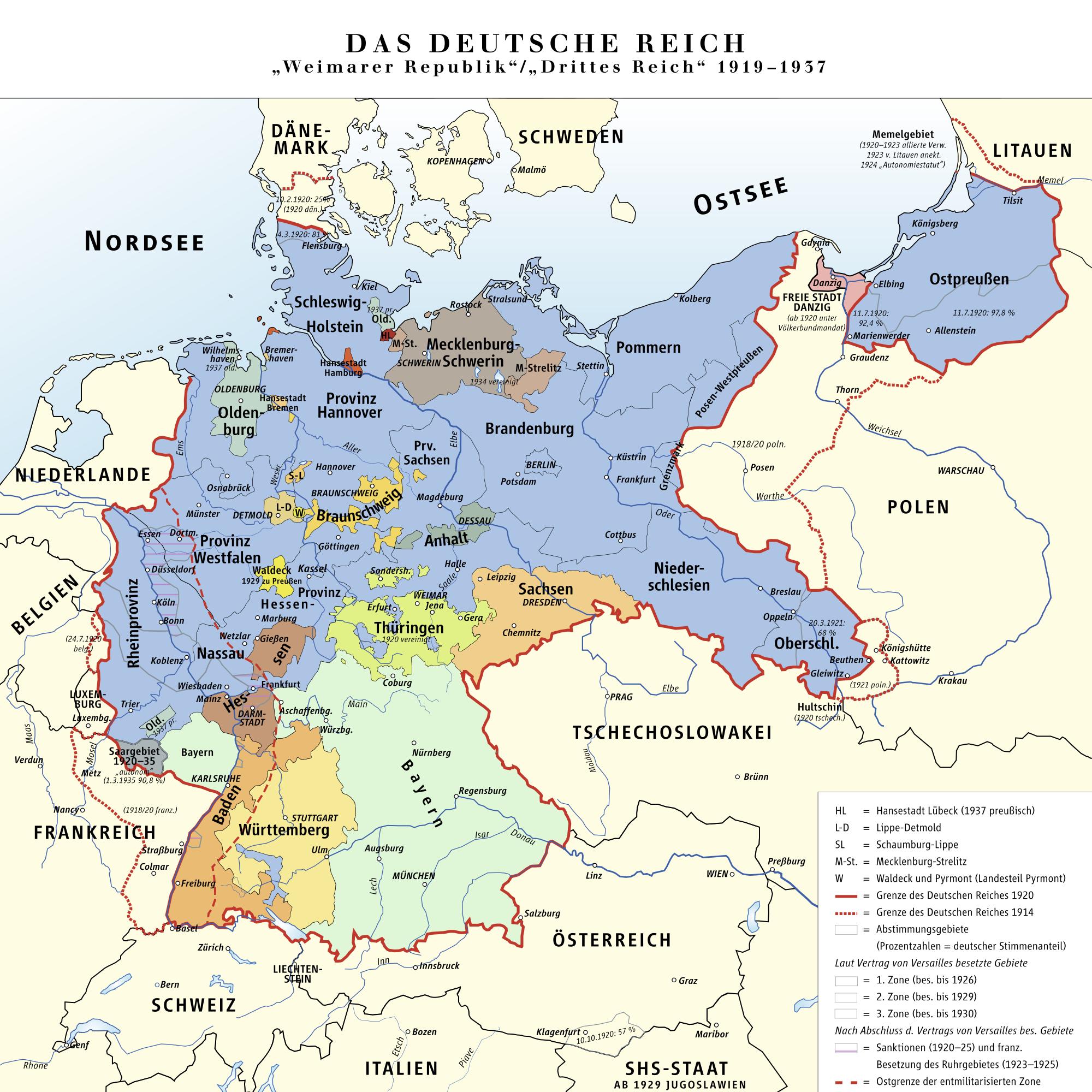 República de Weimar y el Tercer Reich de Alemania 1919-1937
