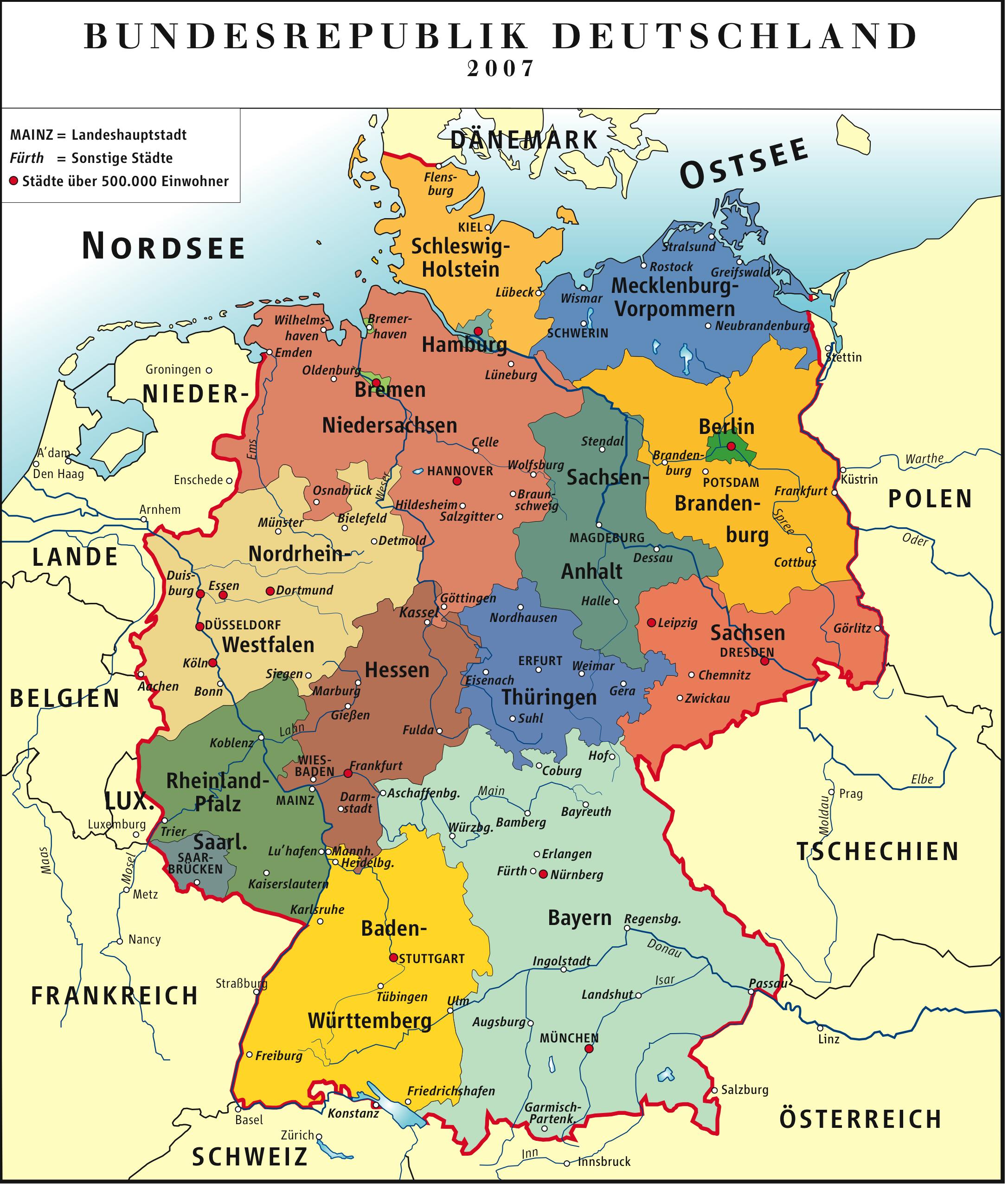 Mapa de Alemania 2007