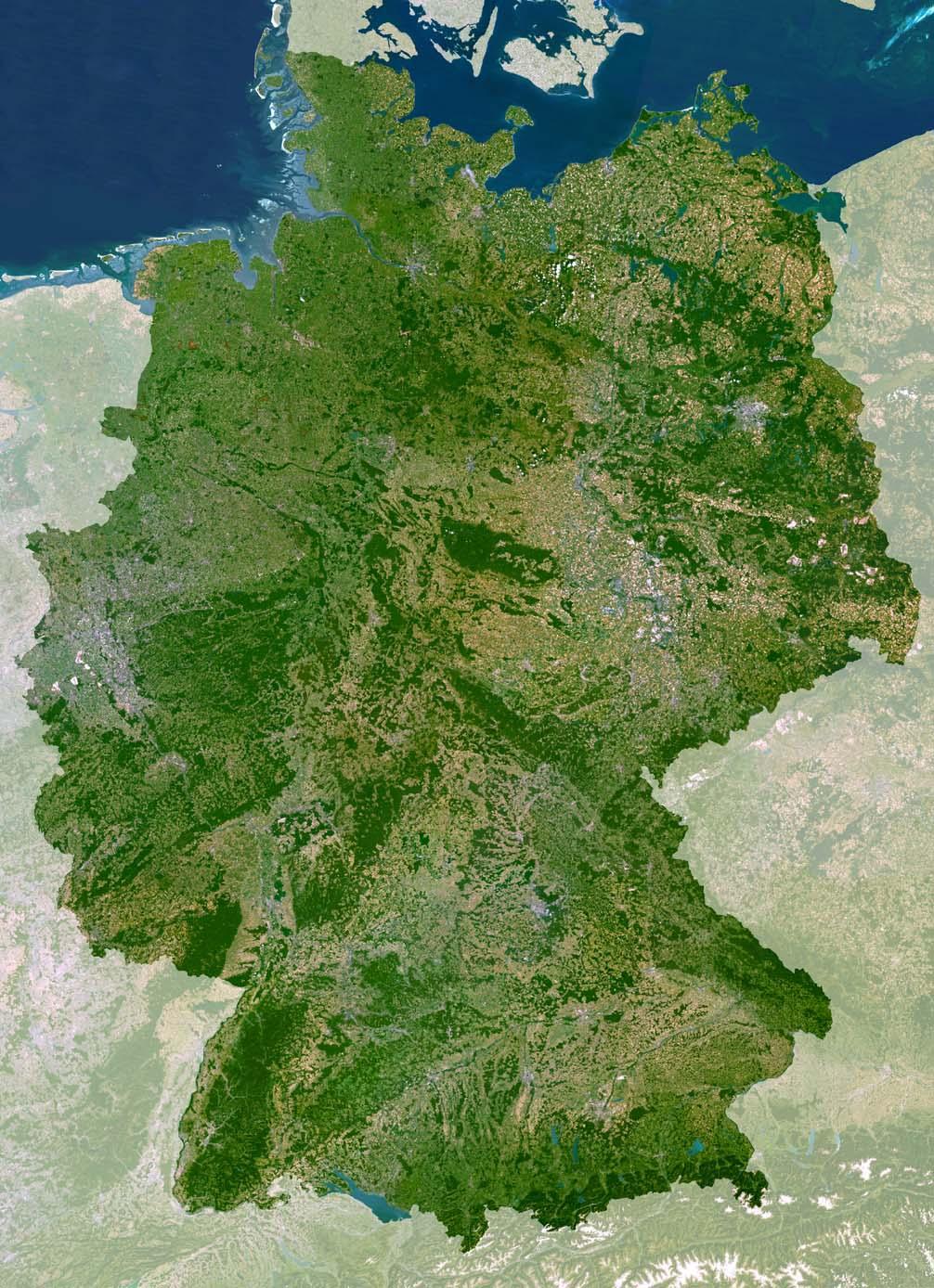 Mapa satelital de Alemania