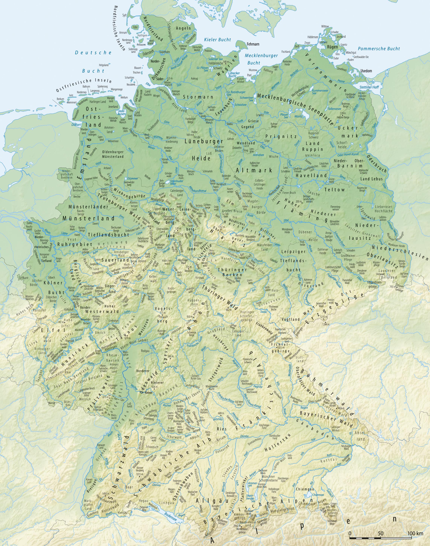 Mapa físico de Alemania 2008