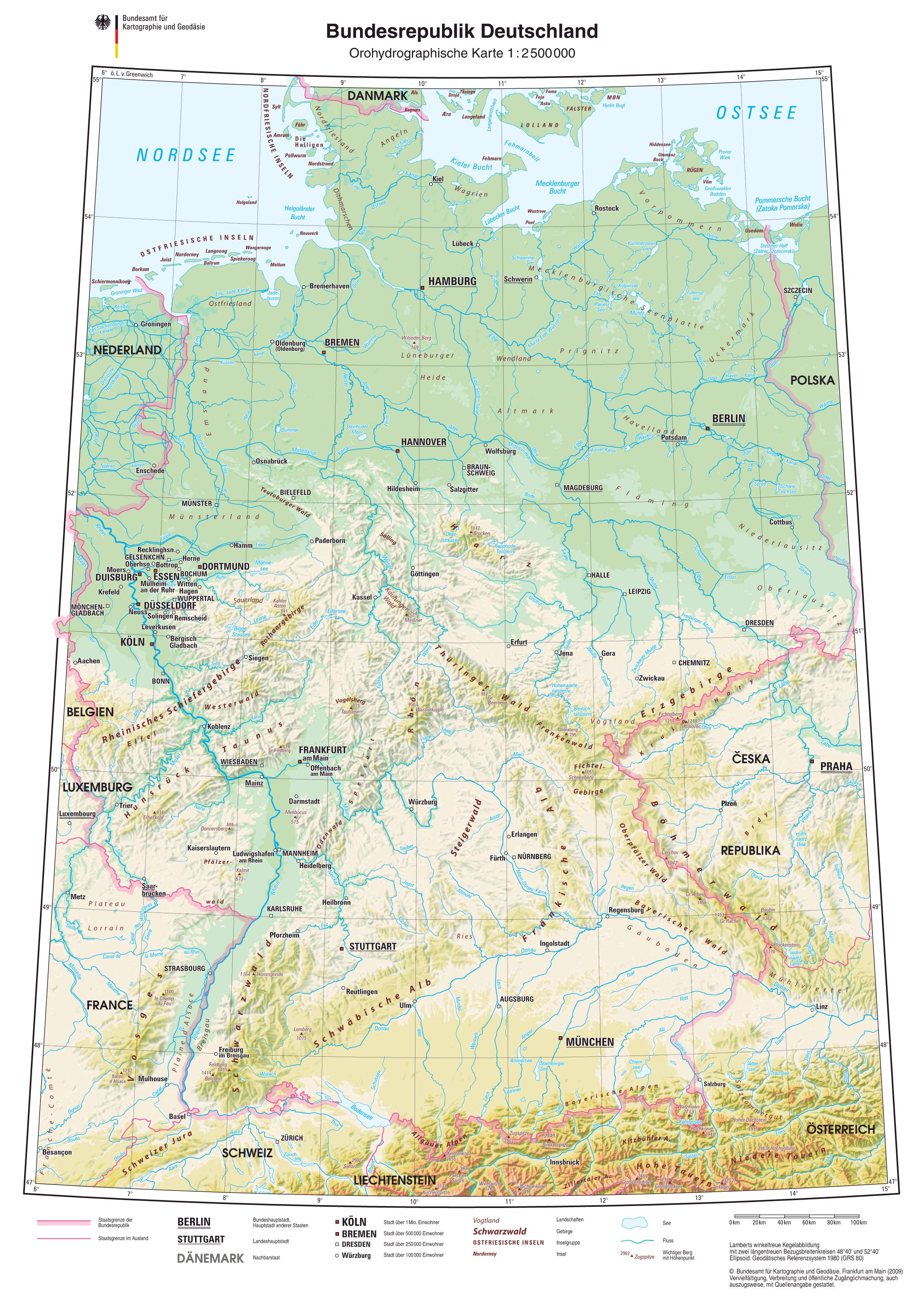Mapa Físico de Alemania 2009