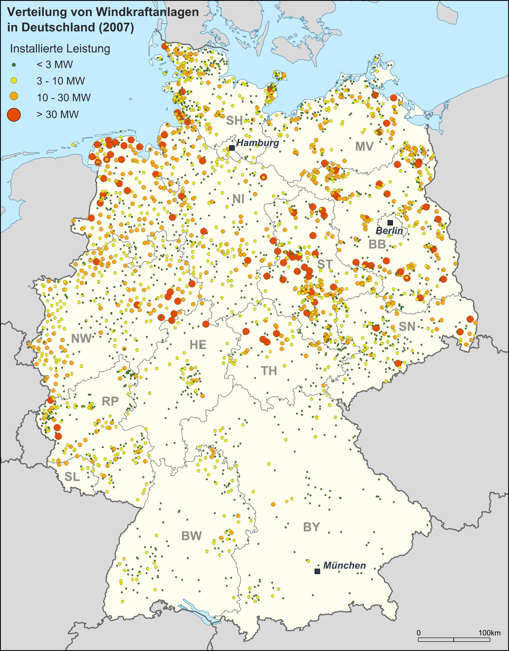 Wind farms in Germany 2008