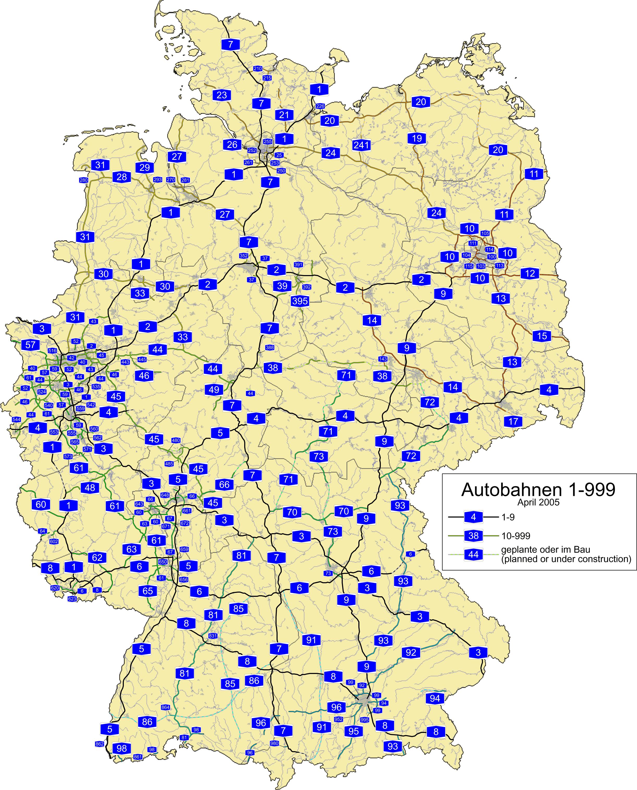 Mapa de carreteras de Alemania 2005