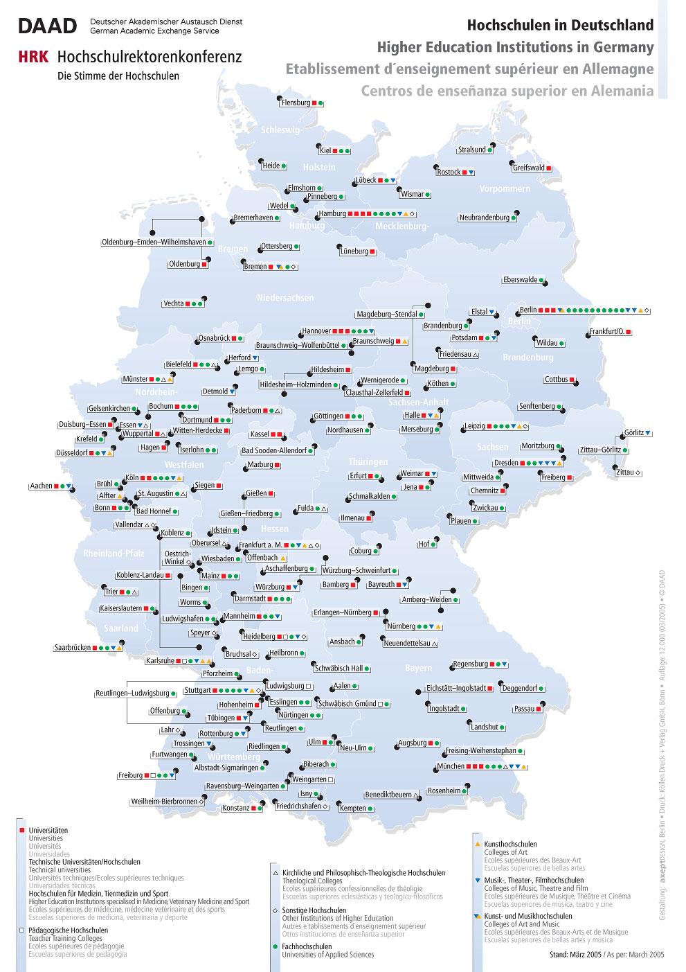 Centros de enseñanza superior en Alemania 2005