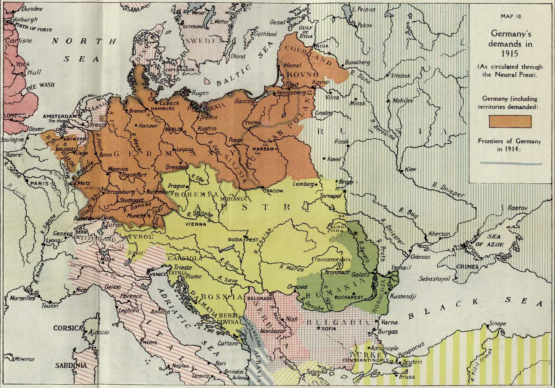 Germany's territorial demands in 1915