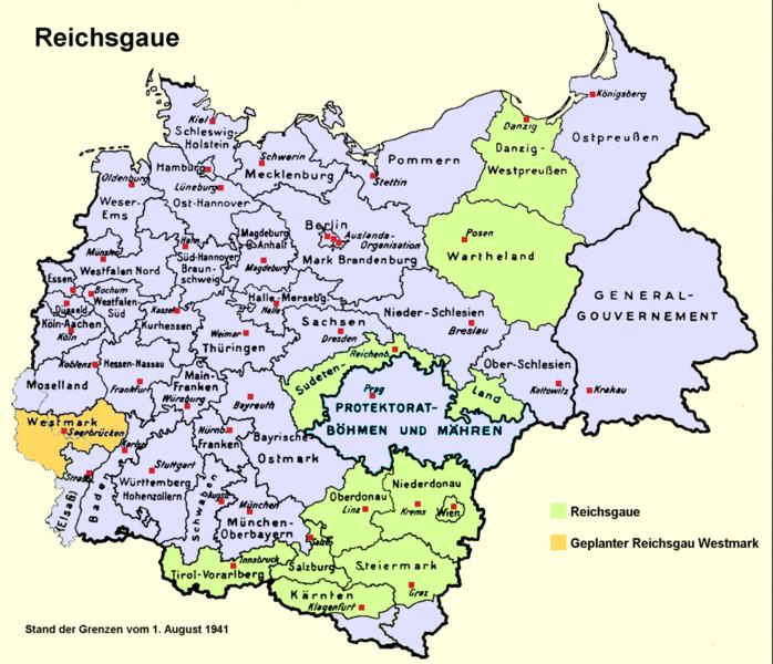 Los distritos administrativos en los territorios bajo el control de la Alemania nazi en 1941