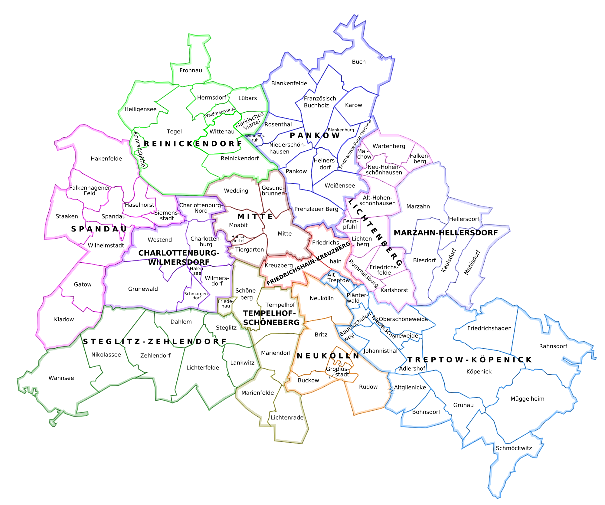 The boroughs of Berlin and their subdivisions 2007