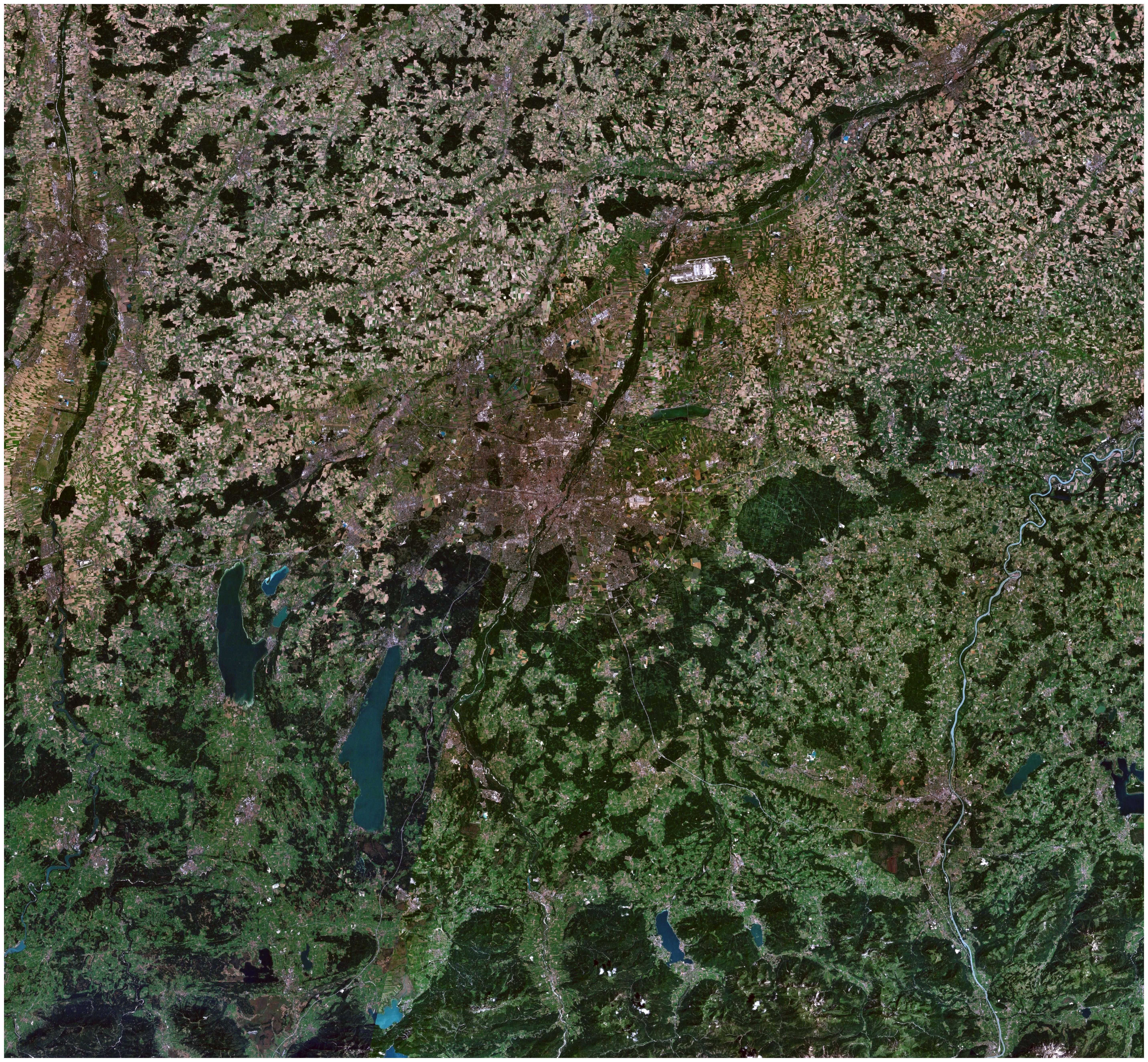 Vista satelital de la región de Múnich