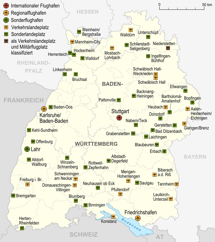 Aeropuertos y aeródromos en Baden-Württemberg 2007