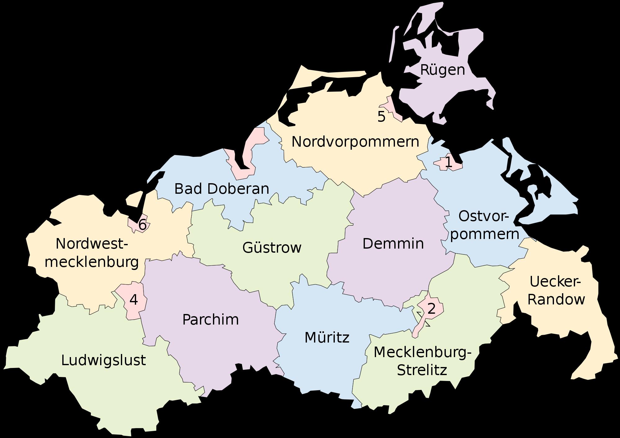 Map of Mecklenburg-Vorpommern 2008