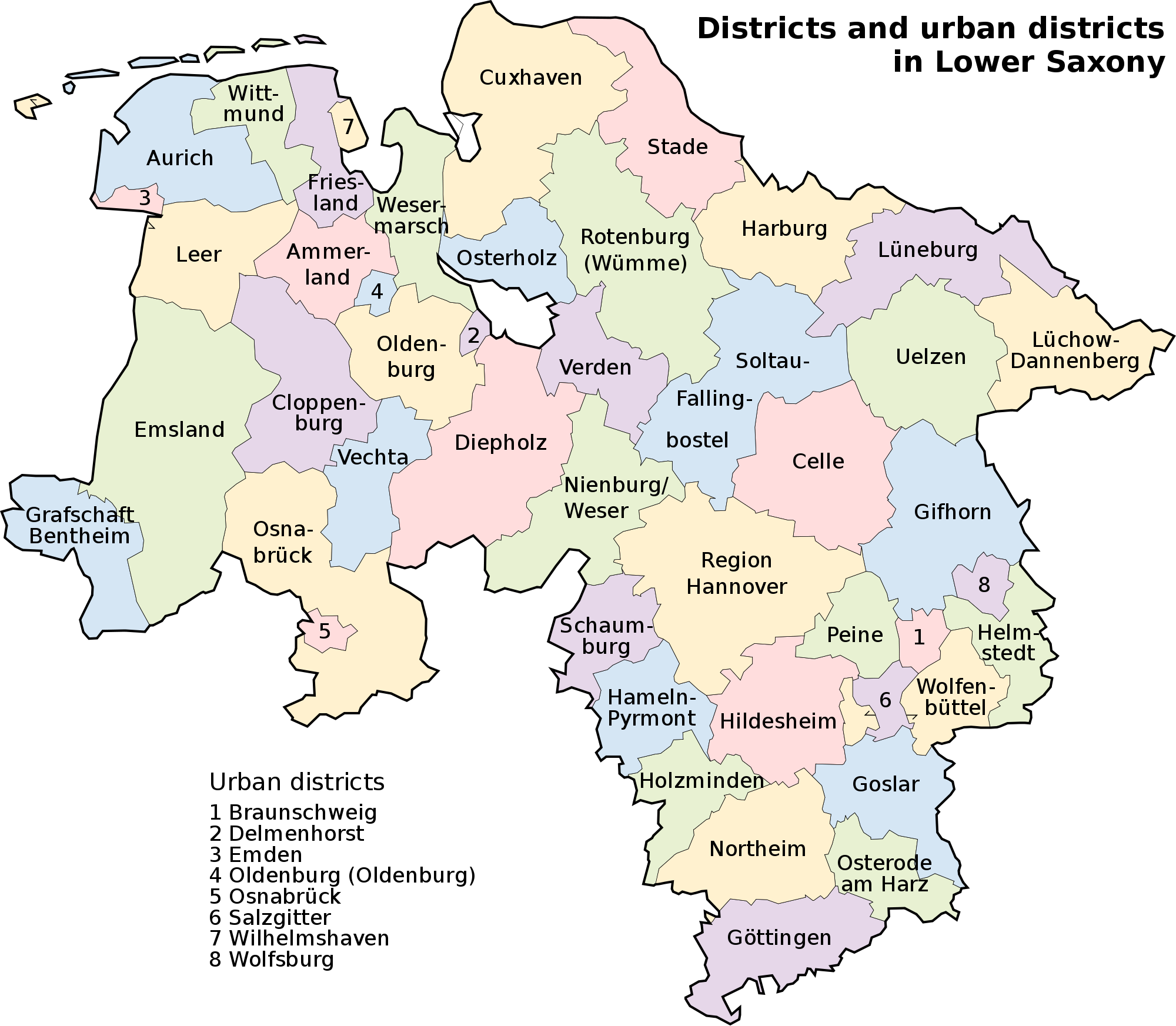 Map of Lower Saxony 2008