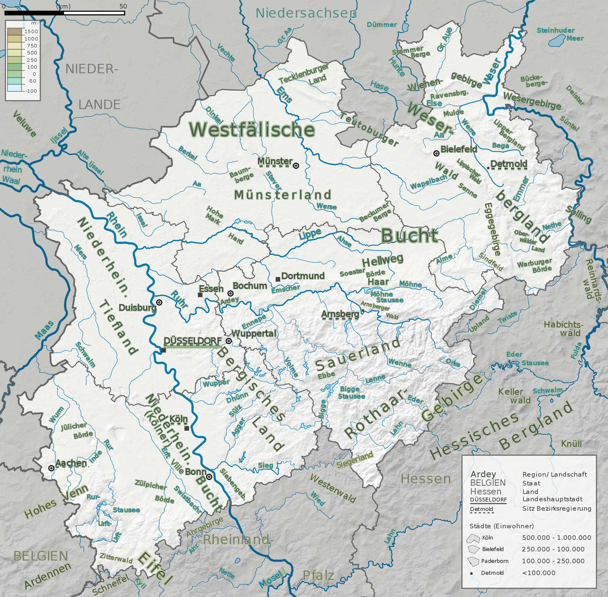 Main mountain ranges, rivers and landscapes of North Rhine-Westphalia 2009