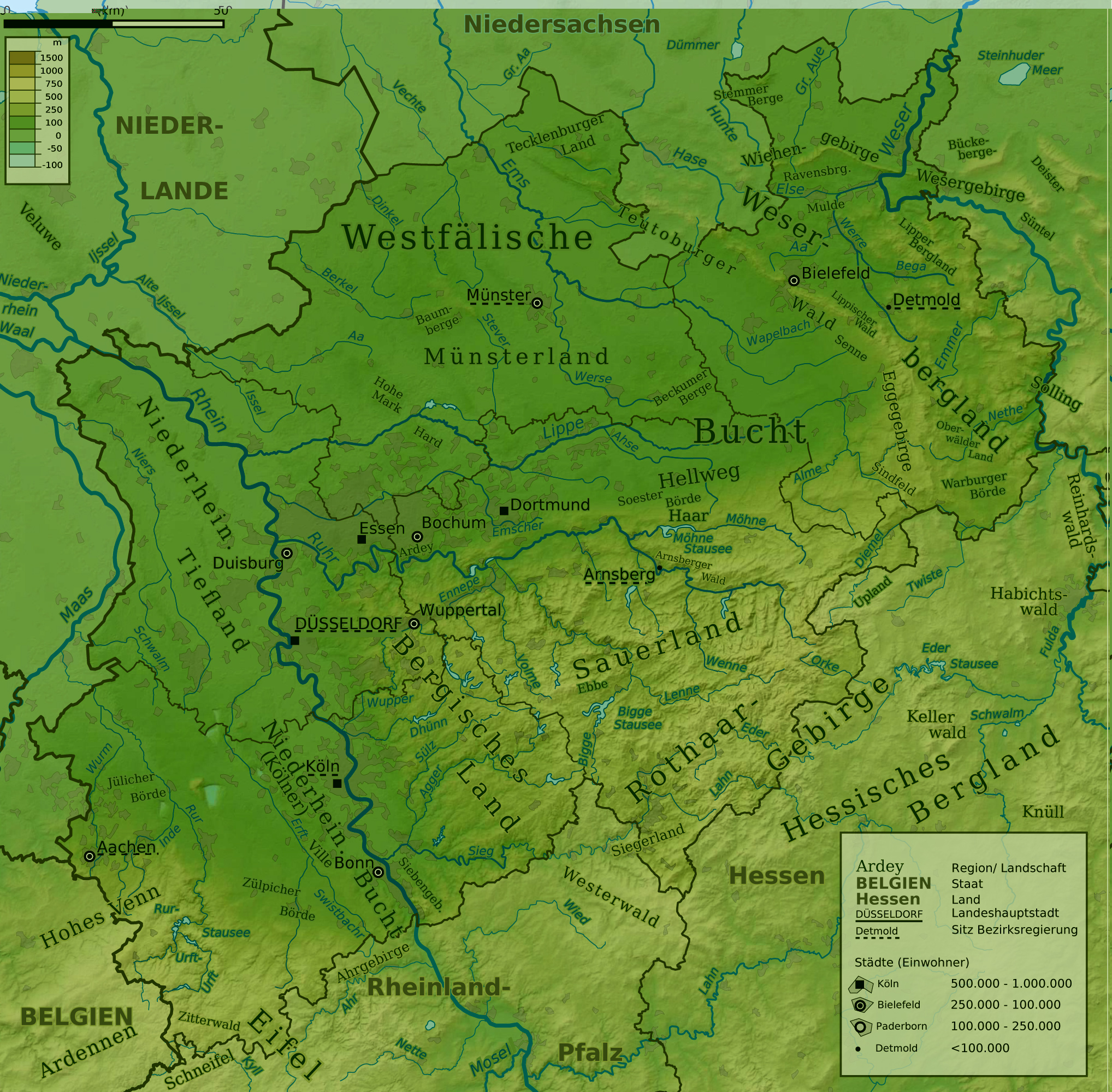 Physical map of North Rhine-Westphalia 2009