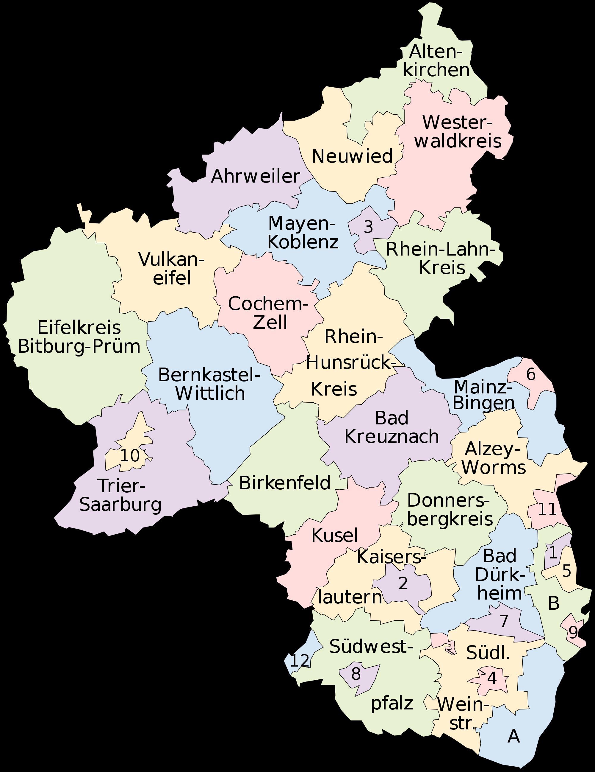 Map of Rhineland-Palatinate 2008