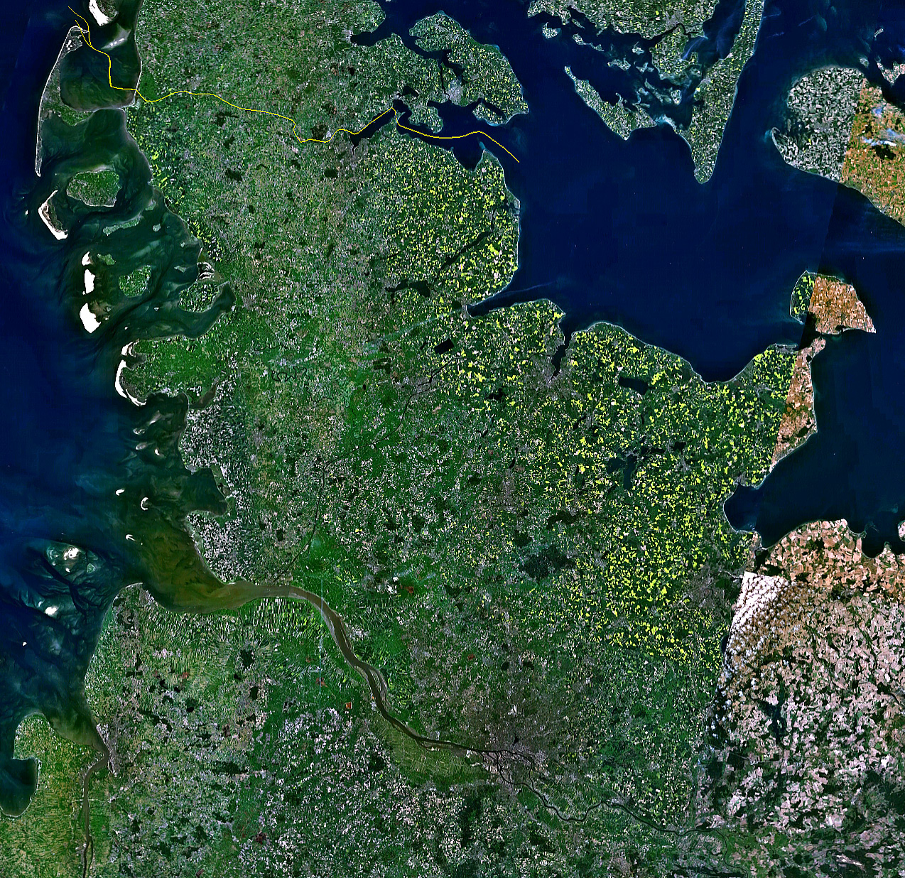 Satellite image of Schleswig-Holstein