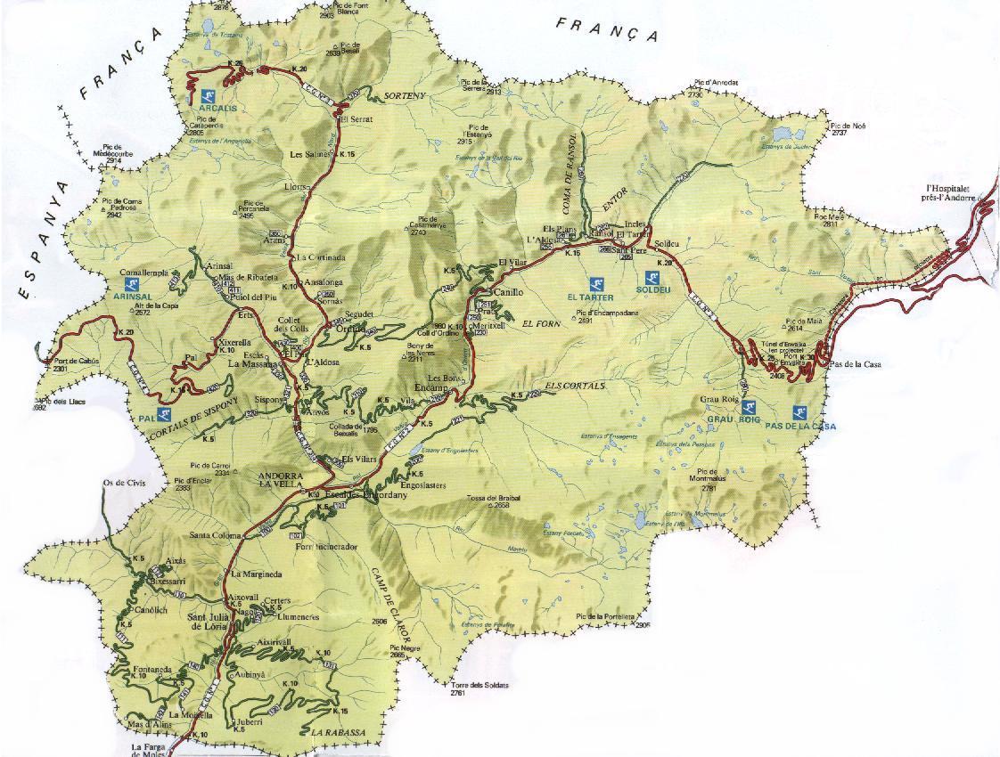 Mapa físico de Andorra