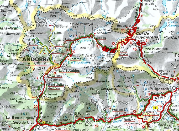 Mapa de Carreteras de Andorra