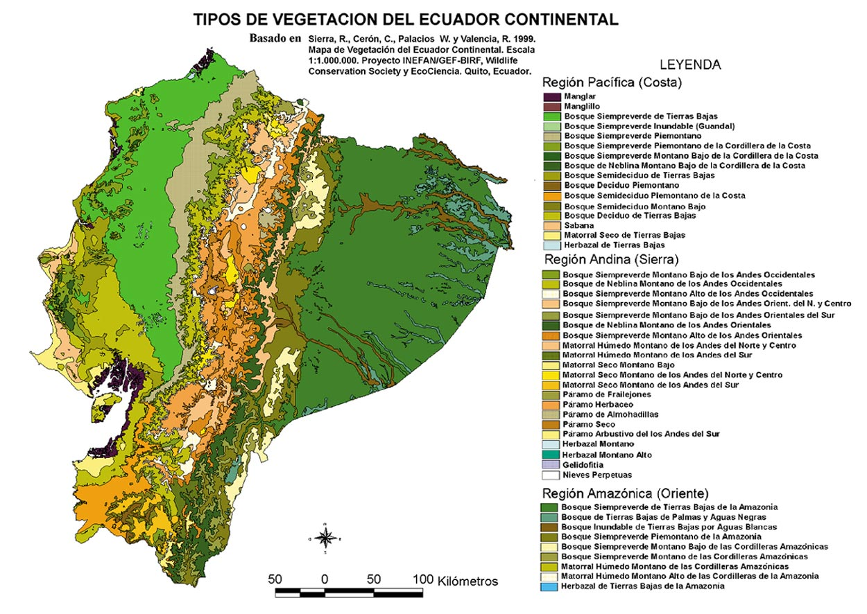 Vegetation types of Ecuador 1999