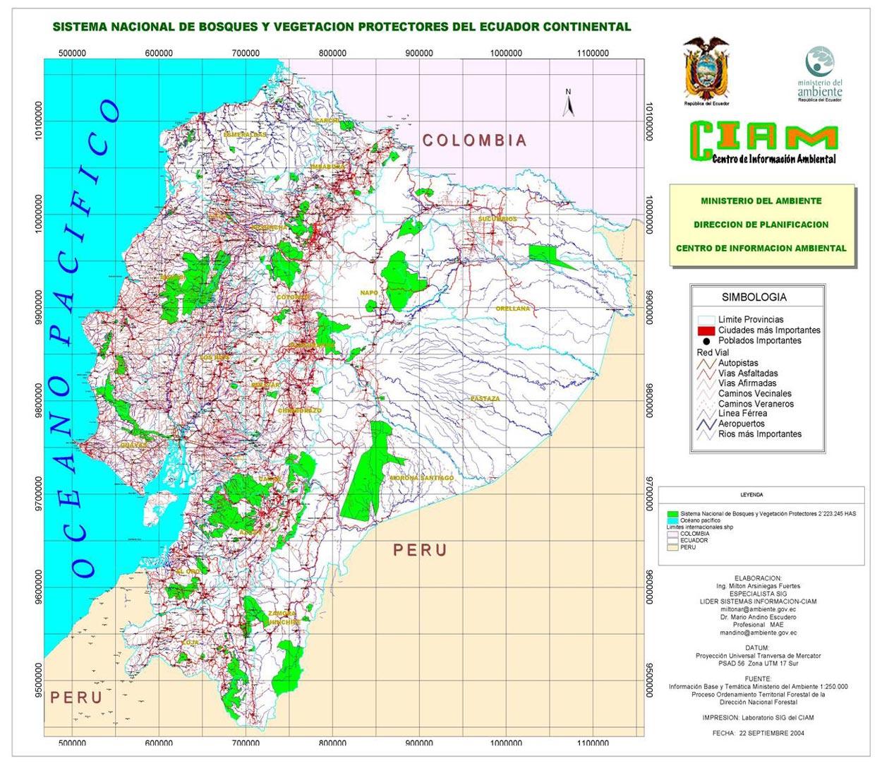 Mapa de Bosques y vegetación protectores del Ecuador 2004