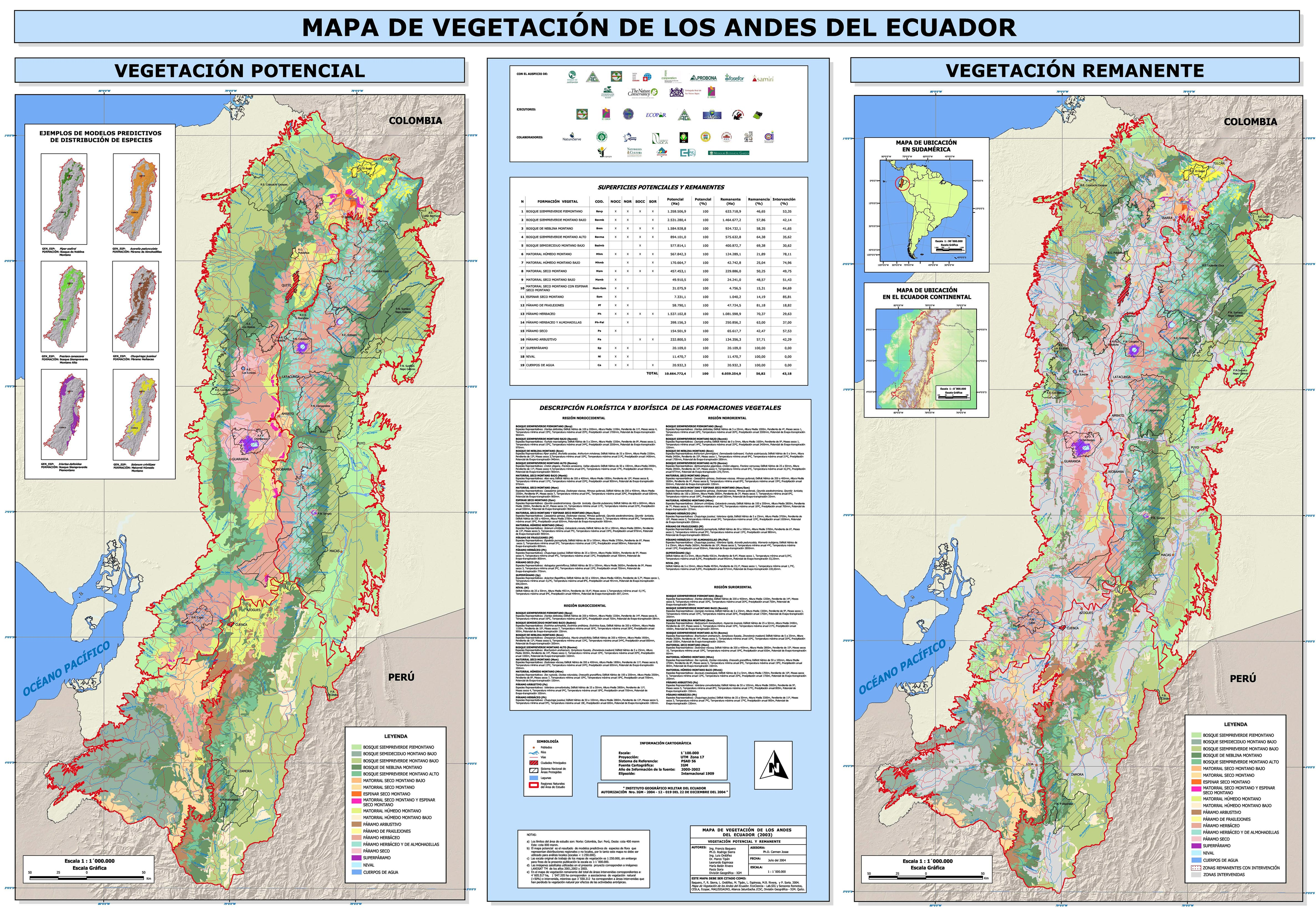 Mapa de Vegetación de los Andes del Ecuador 2003