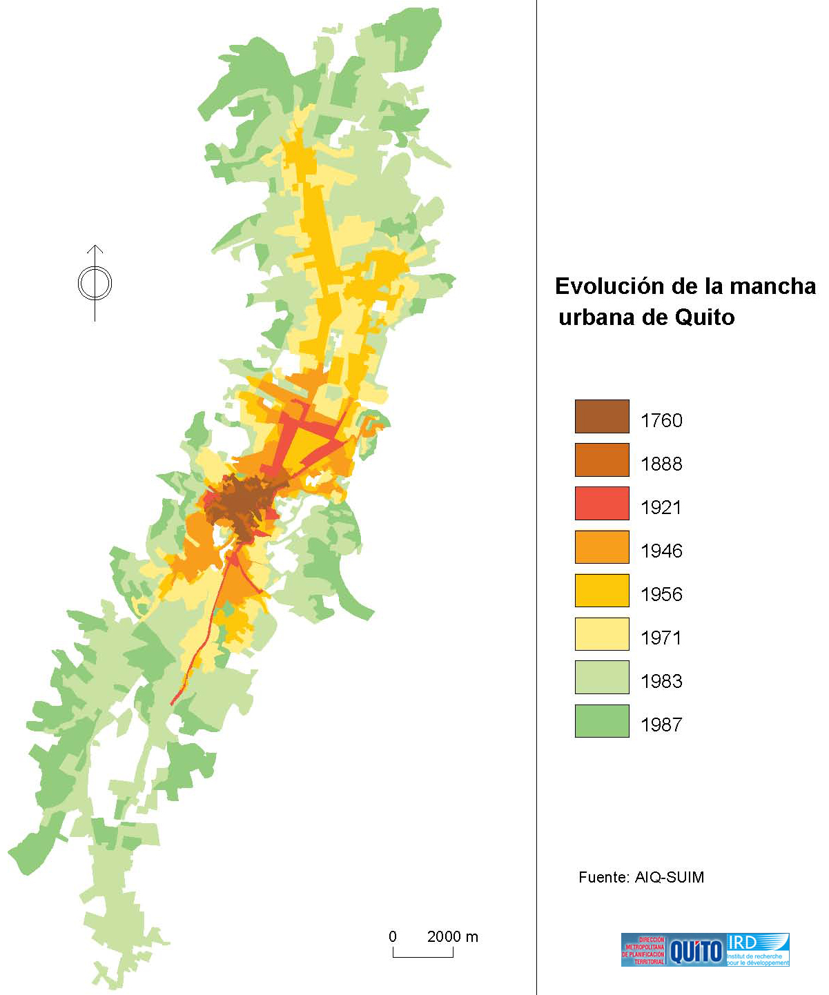 The evolution of the urban area of Quito 1760-1987