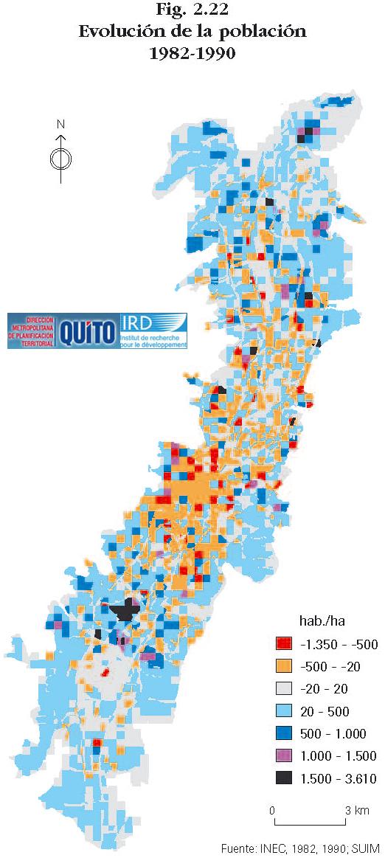 Mapa de Evolución de la población de Quito 1982-1990
