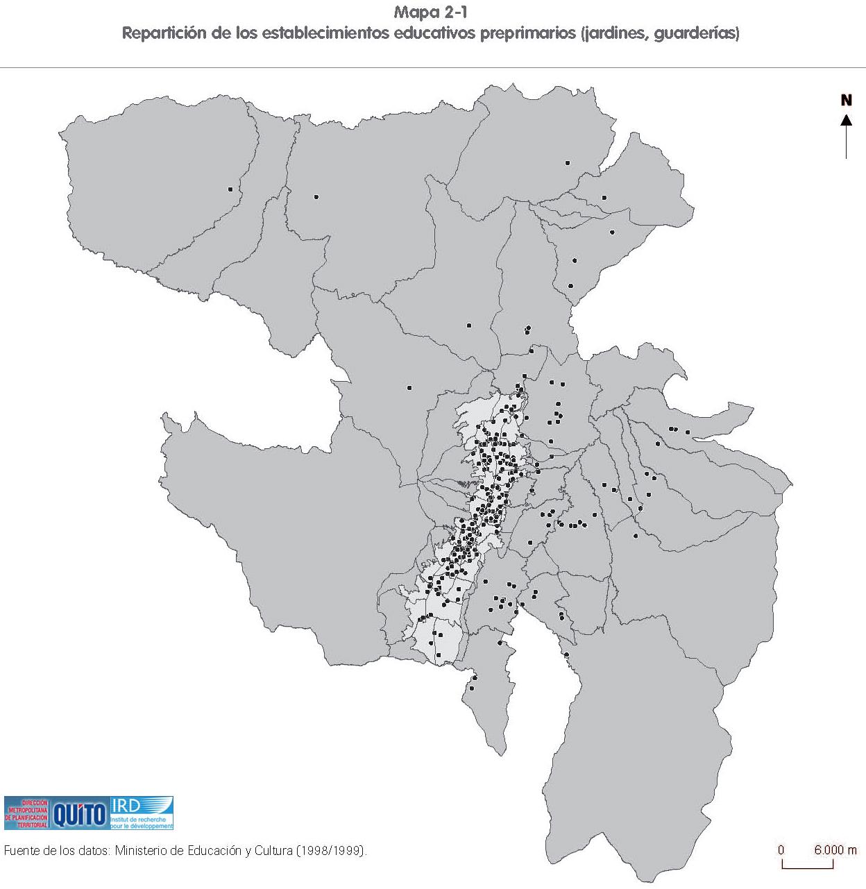Mapa de Establecimientos educativos preprimarios en en el Distrito Metropolitano de Quito 2001