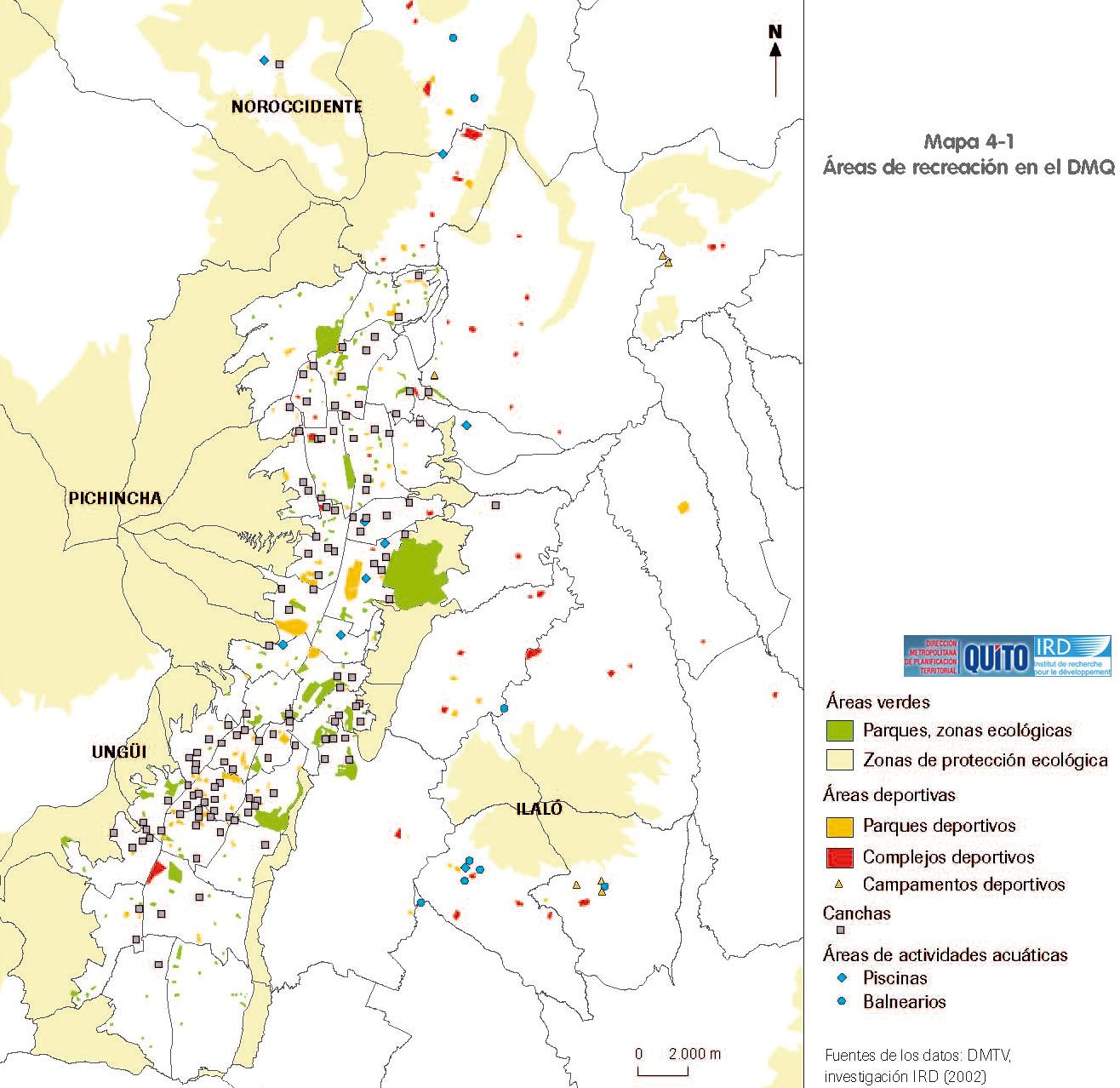Mapa de Áreas de recreación en el Distrito Metropolitano de Quito 2002