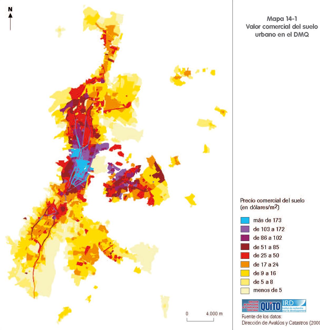 Mapa de Valor comercial del suelo urbano en el Distrito Metropolitano de Quito 2000