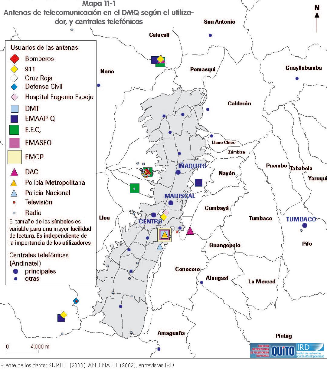 Mapa de Antenas de telecomunicación y centrales telefónicas en el Distrito Metropolitano de Quito 2002
