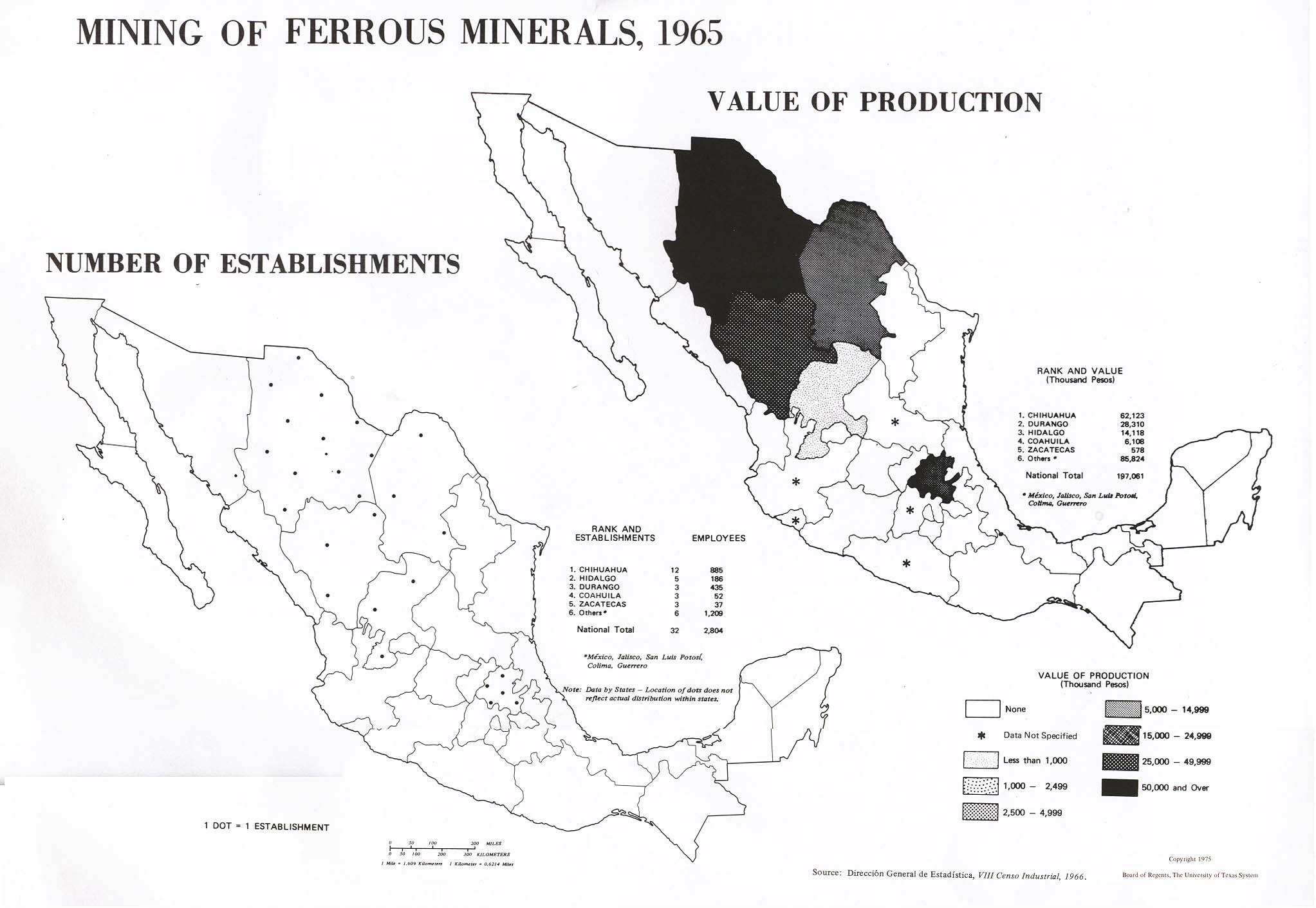 Mapa de Miner�a de Minerales Met�licos no Ferrosos en M�xico 1965