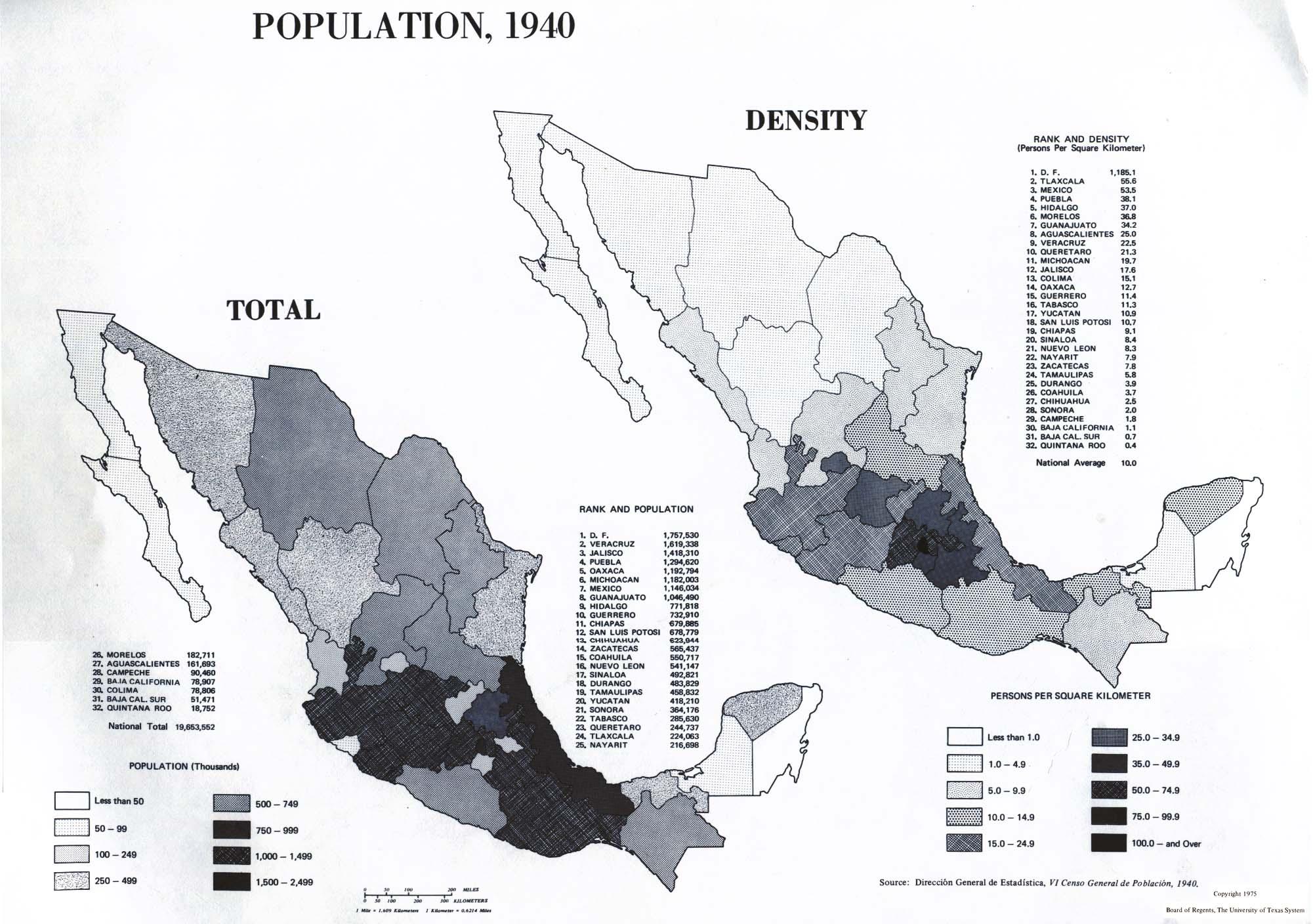 Mapa de Población de Mexico 1940