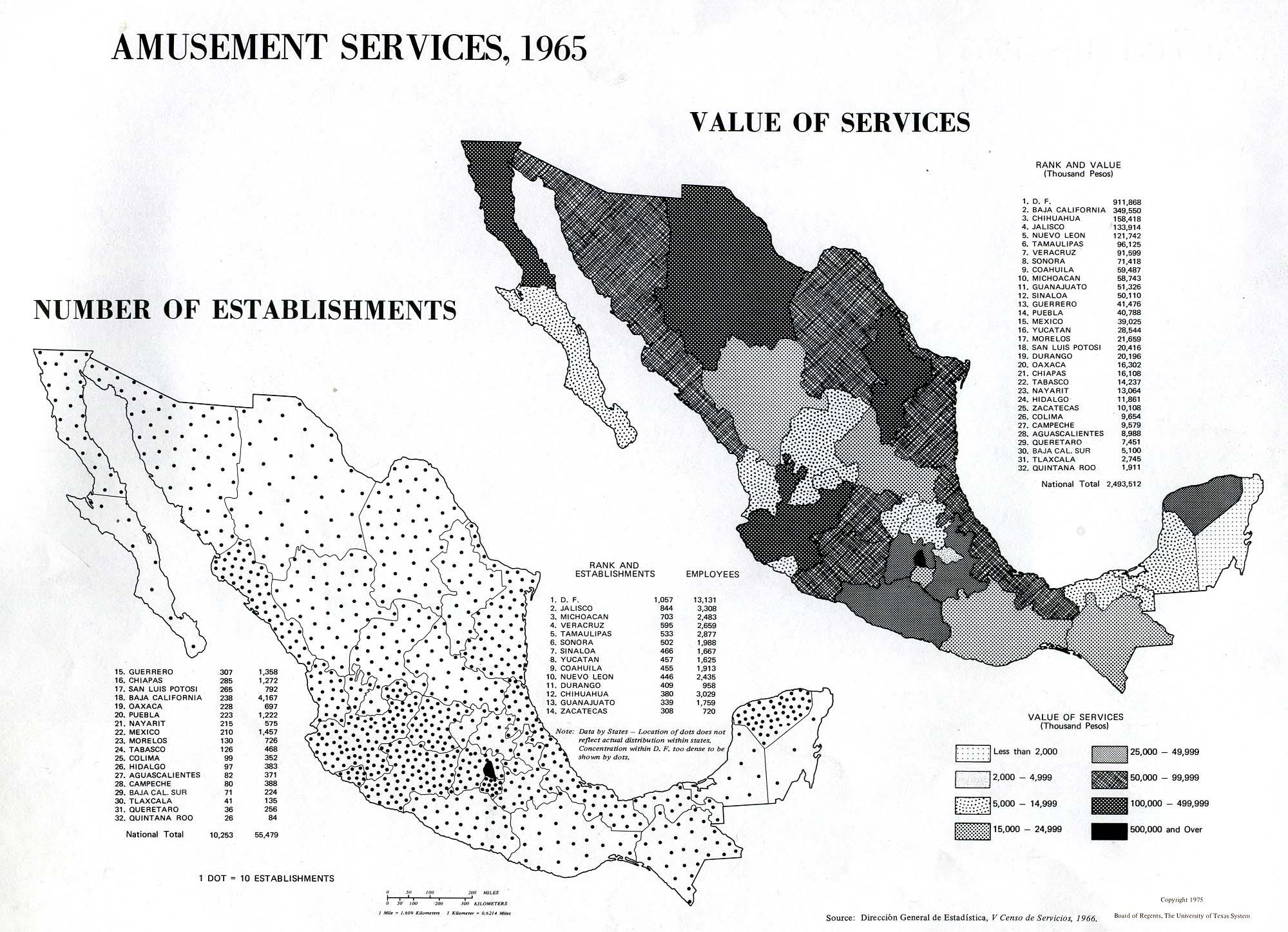 Mapa de Servicios de Diversión en México 1965