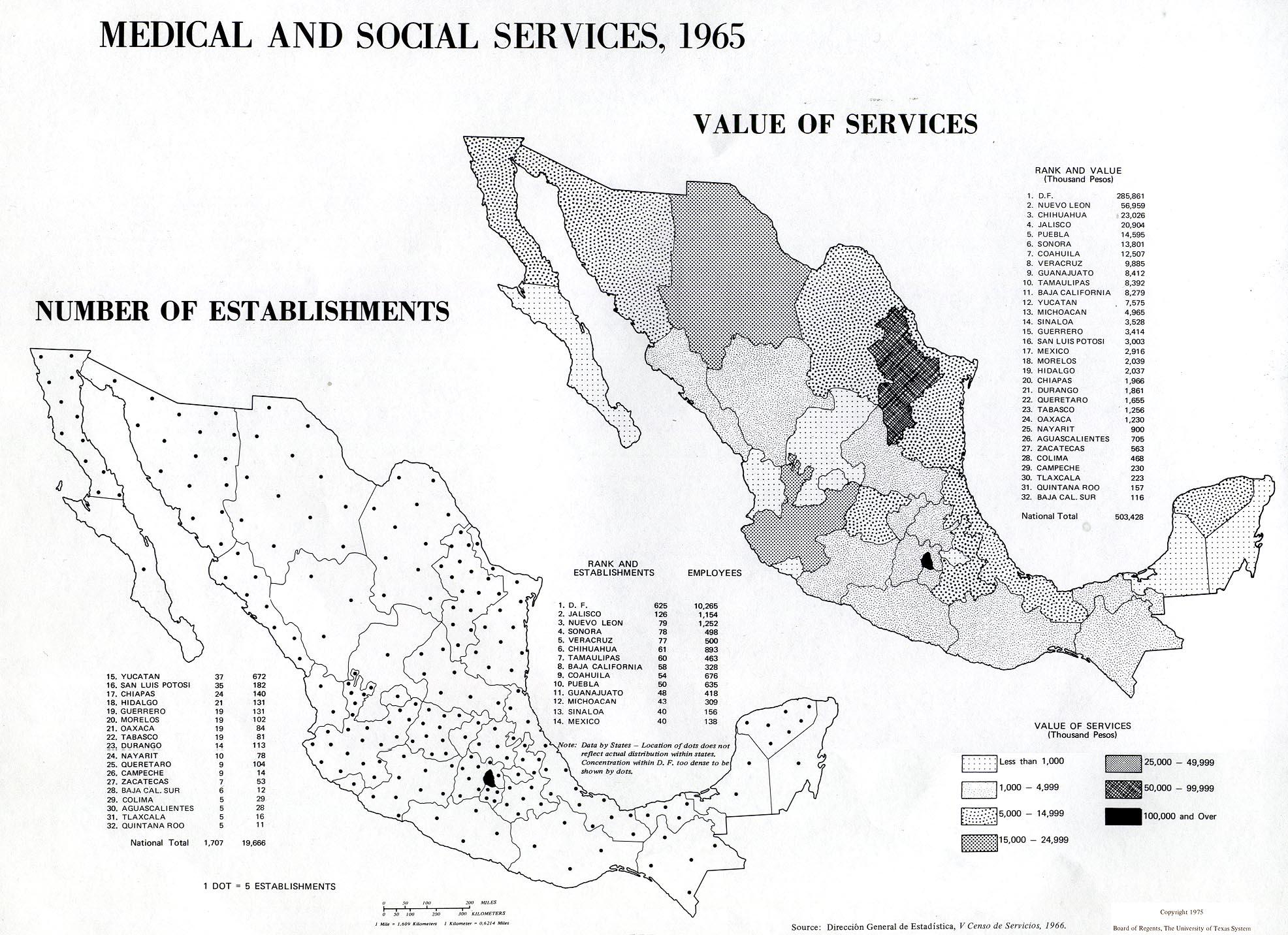 Mapa de Servicios Médicos y Sociales en México 1965