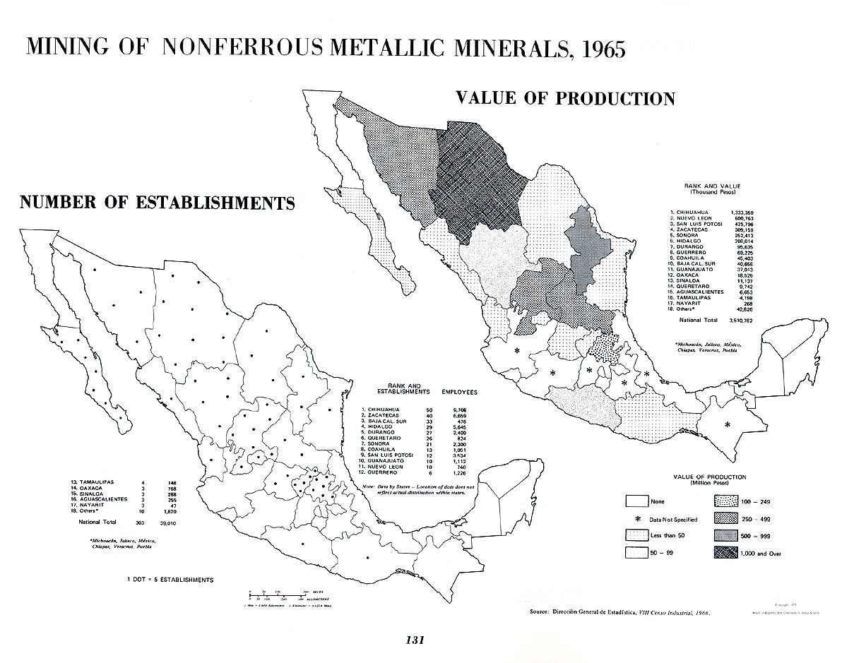 Mapa de La minería de minerales metálicos no ferrosos en México 1965