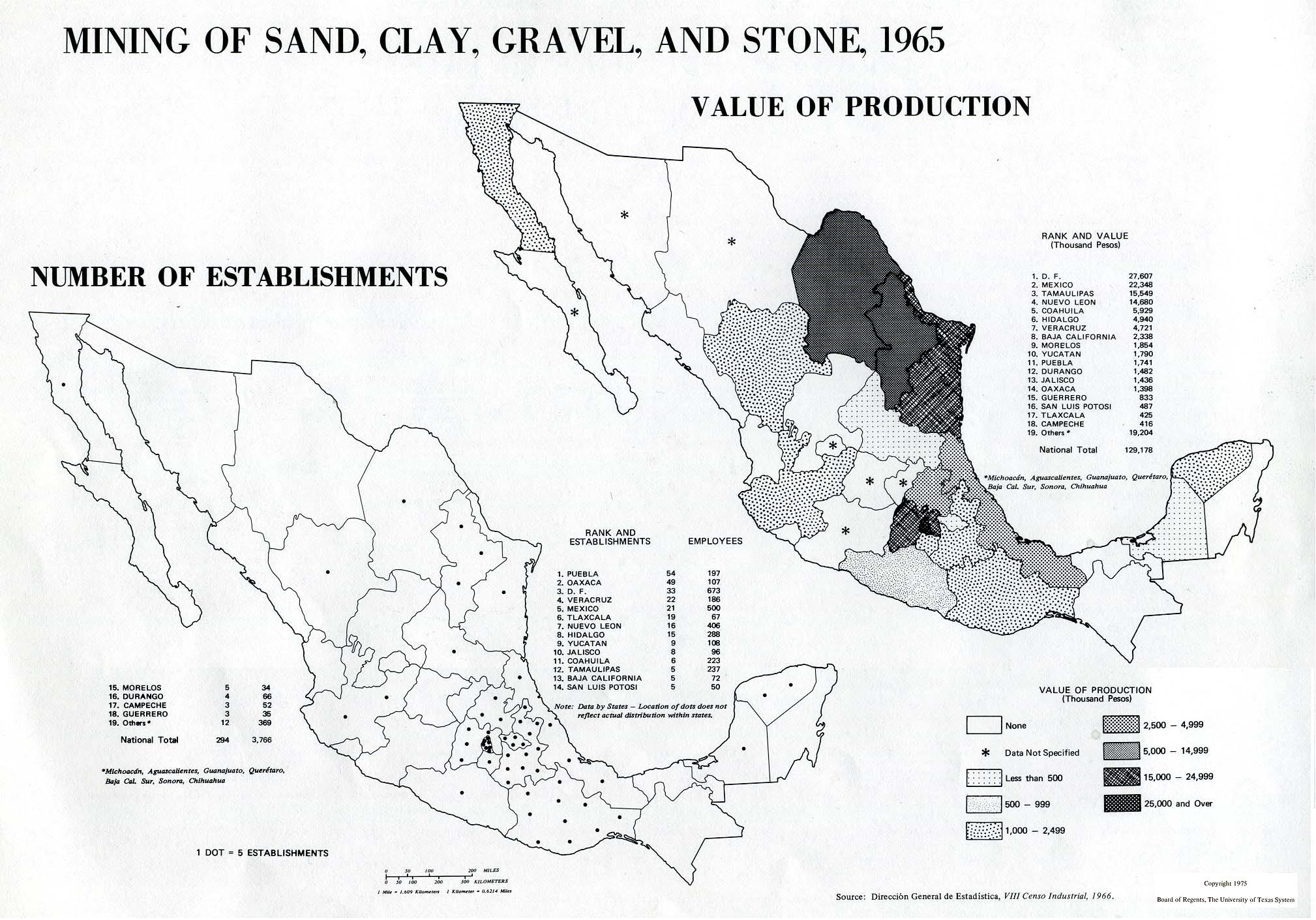 Mapa de La Minería de Arena, Arcilla, Grava y Piedra en México 1965