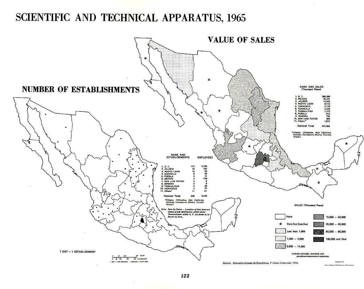 Mapa de Instrumentos Científicos y Técnicos en México 1965