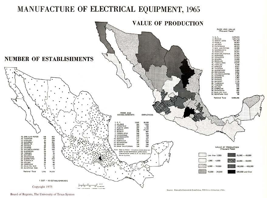 Mapa de Fabricación de Equipos Eléctricos en México 1965