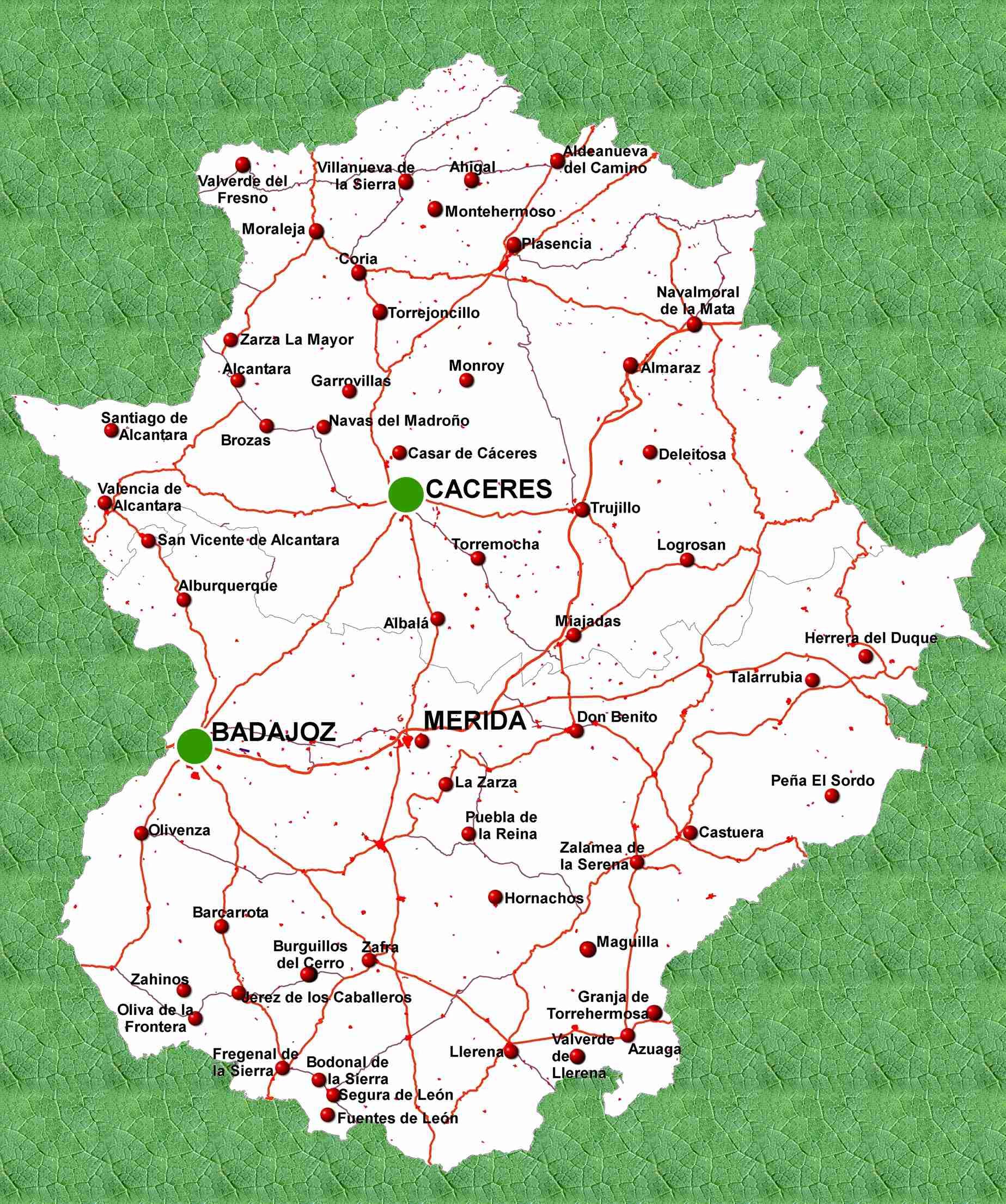 Mapa de carreteras de Extremadura