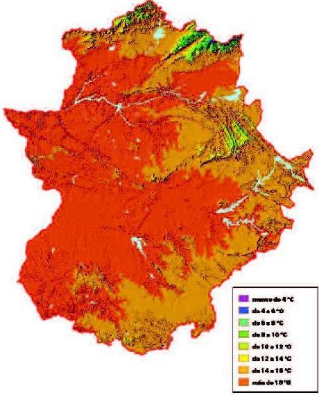 Mapa de Temperaturas medias anuales en Extremadura