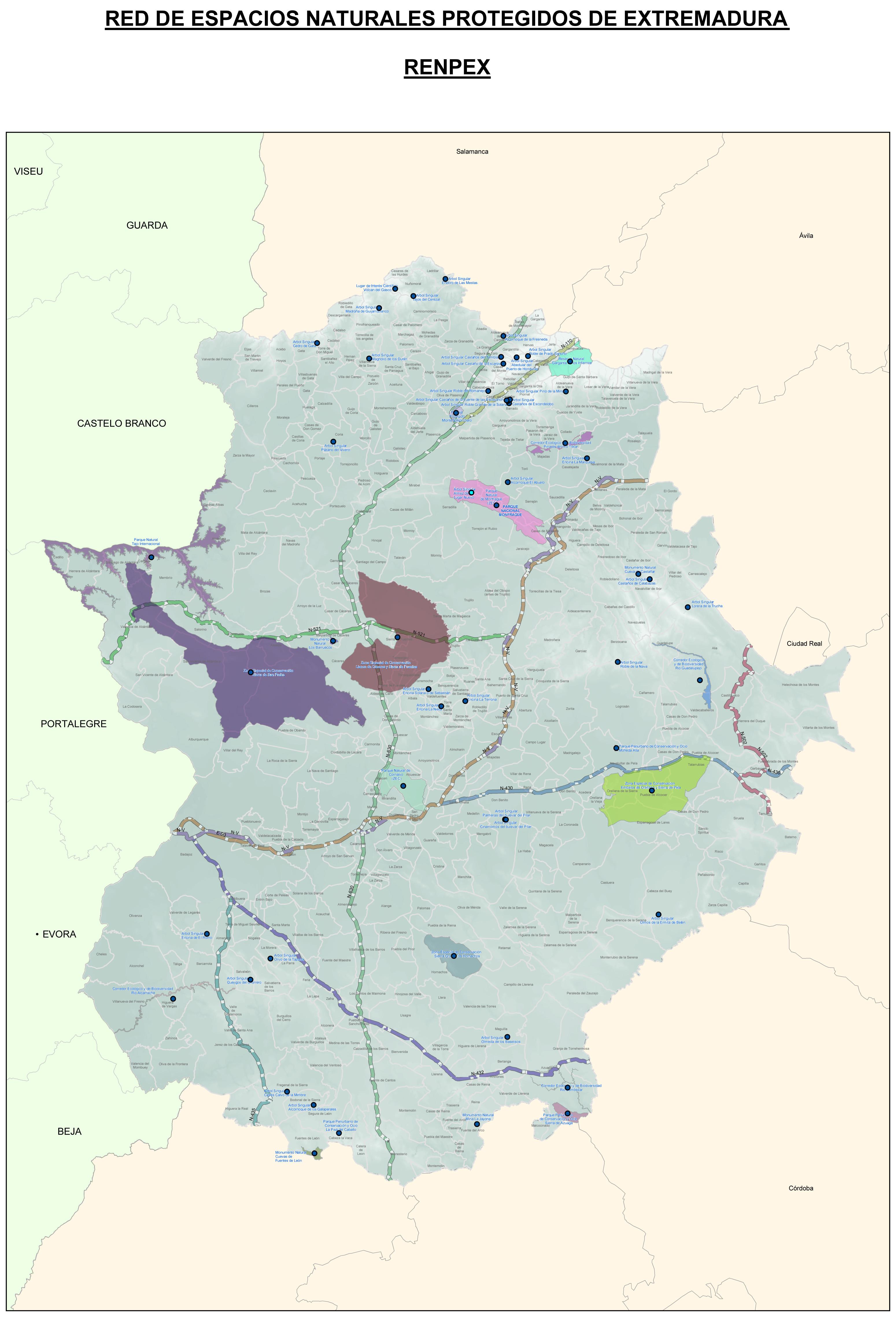 Mapa de Espacios naturales protegidos de Extremadura